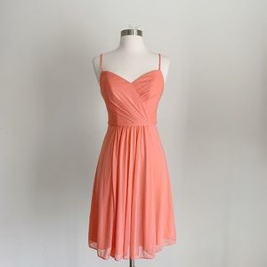 David's Bridal - Coral Bridesmaid Mini Dress Sz 0